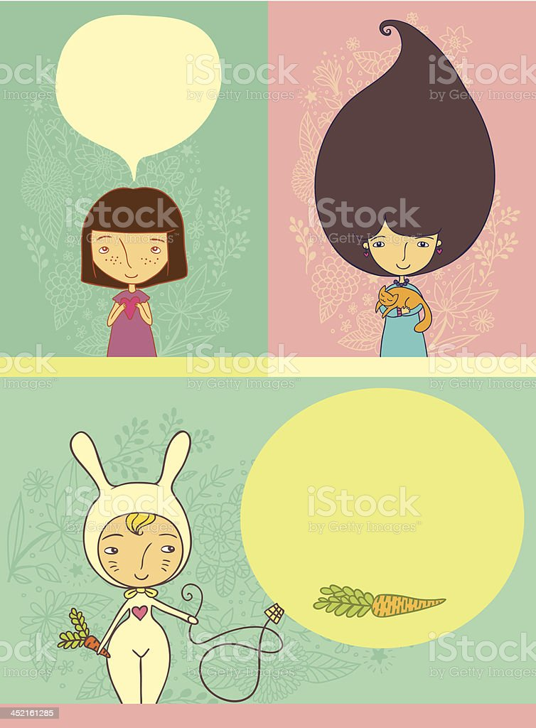 Cartoon girl collection royalty-free cartoon girl collection stock vector art & more images of animal