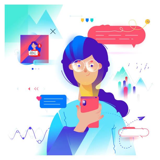 cartoon-mädchen kommuniziert per telefon im messenger. vektor. süße weibliche bild. frau im chat und soziale netzwerke. illustration für banner oder website. marketing und werbung, smm. verkaufsstatistik. - frau handy stock-grafiken, -clipart, -cartoons und -symbole