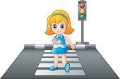 Vector illustration of Cartoon girl crossing the street