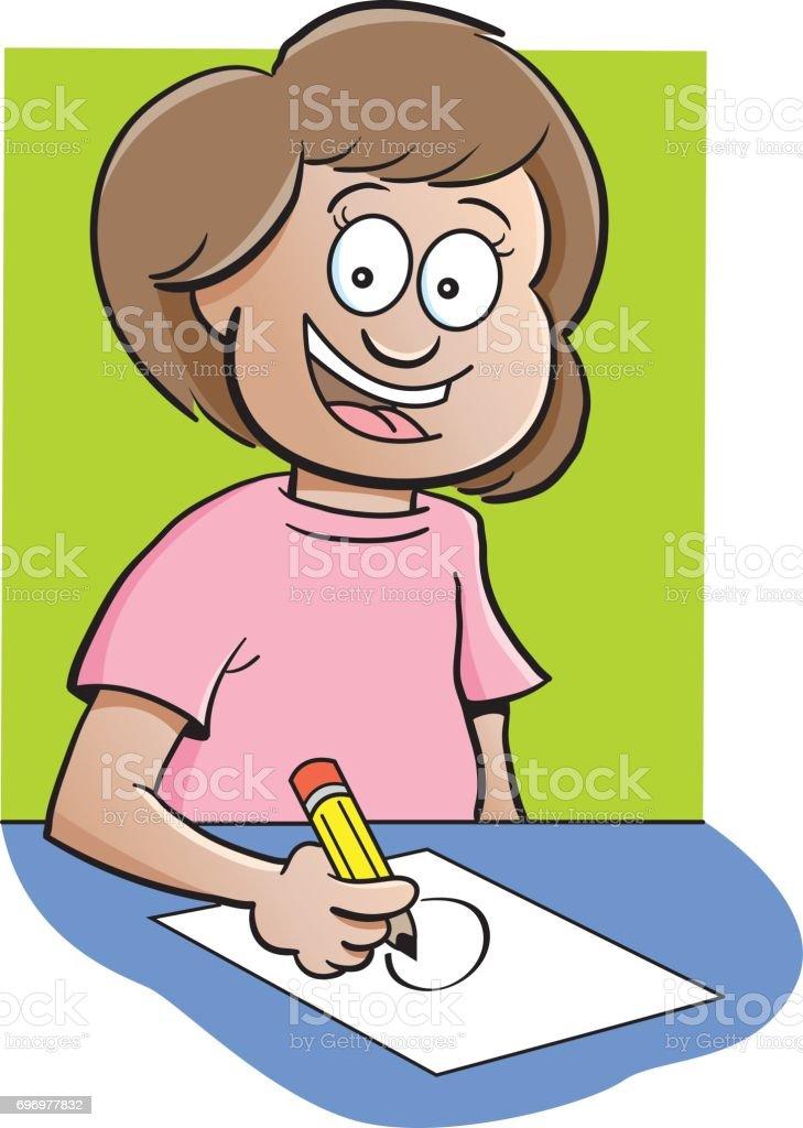 Cartoon girl drawing.