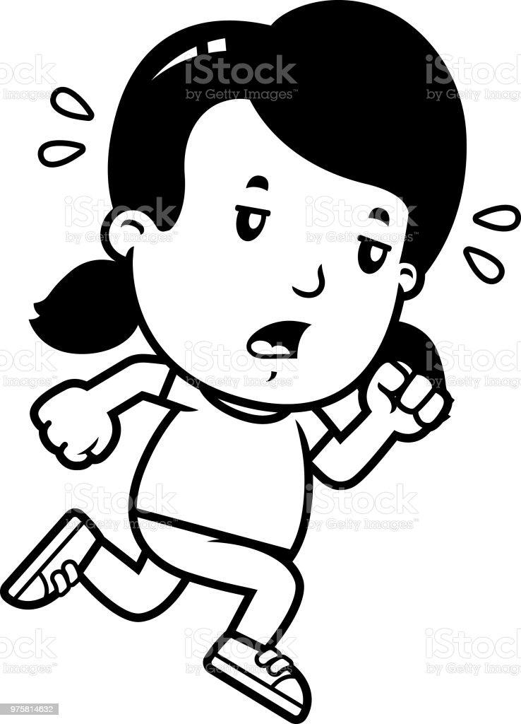 Cartoon-Mädchen erschöpft - Lizenzfrei ClipArt Vektorgrafik