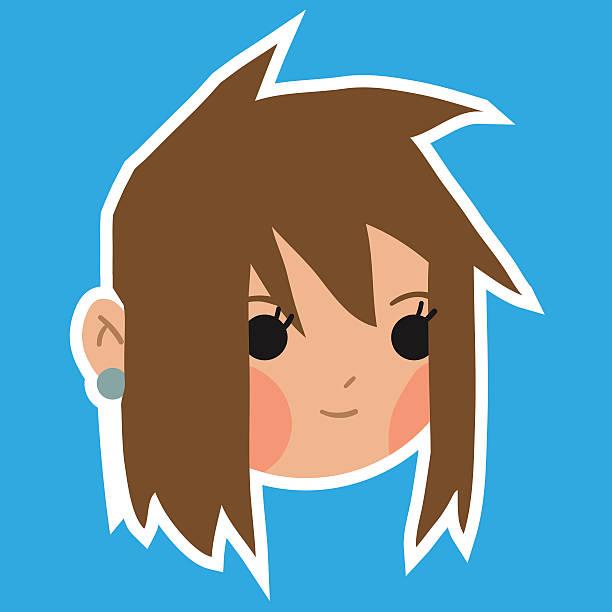 Cartoon girl head flat sticker icon. vector art illustration
