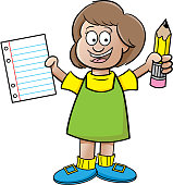 Cartoon girl holding a paper and a pencil.