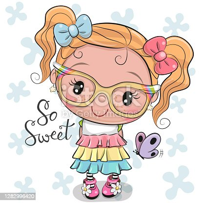 istock Cartoon Girl in a dress with bows 1282996420