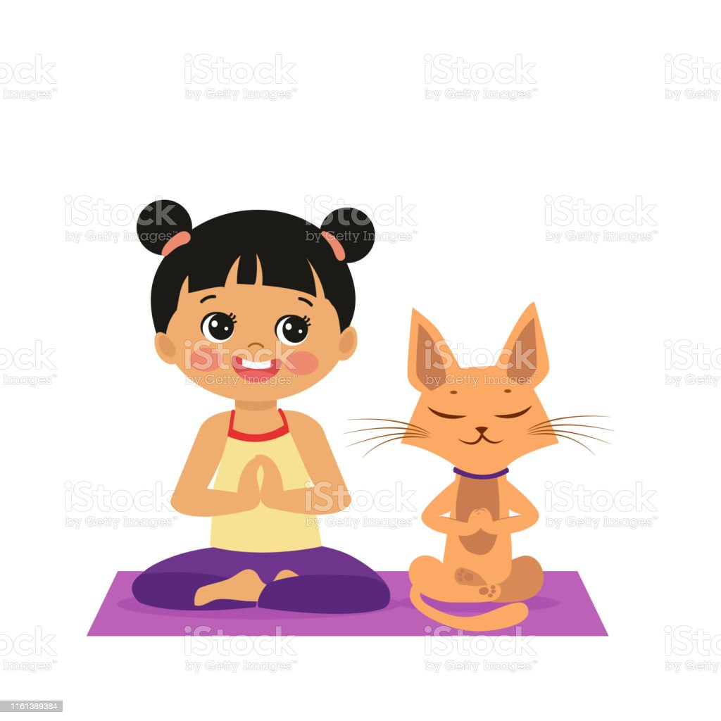 Cartoon Girl In Yoga Lotus Pose With Cute Cat. Practicing Yoga Icon....