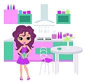 Cartoon girl on kitchen bears a teapot