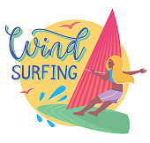 Cartoon girl on windsurfing board - vector Illustration in flat style - summertime template with colored text and sun tanned young happy woman.
