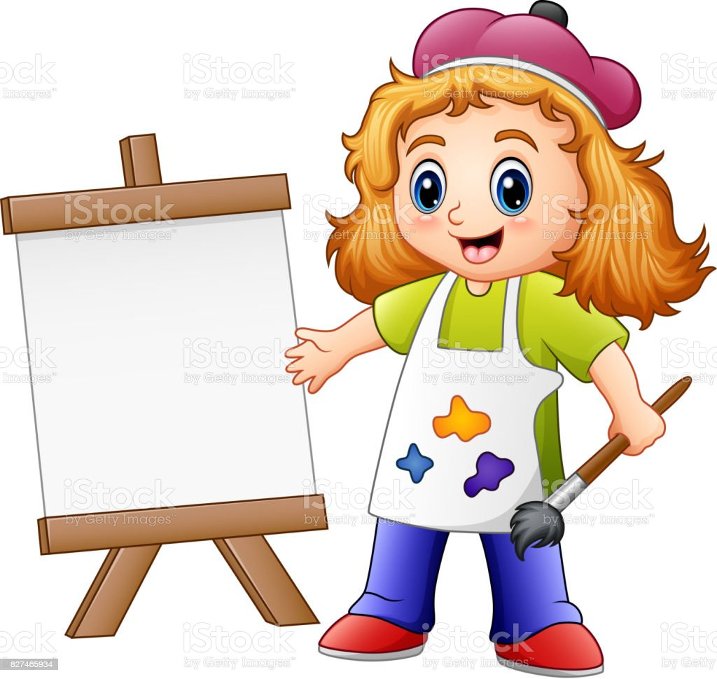 Cartoon girl painting vector art illustration