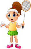 Illustration of Cartoon girl playing badminton