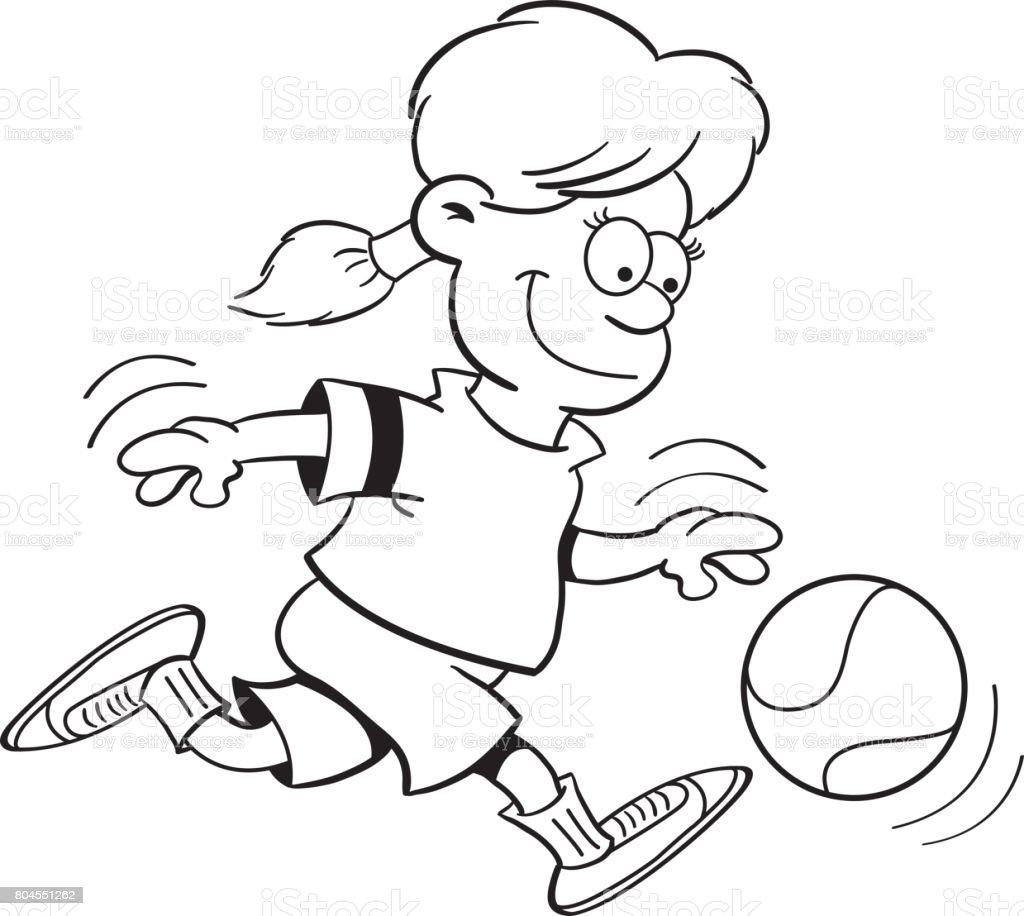 Chica De Dibujos Animados Jugando Baloncesto - Arte vectorial de ...