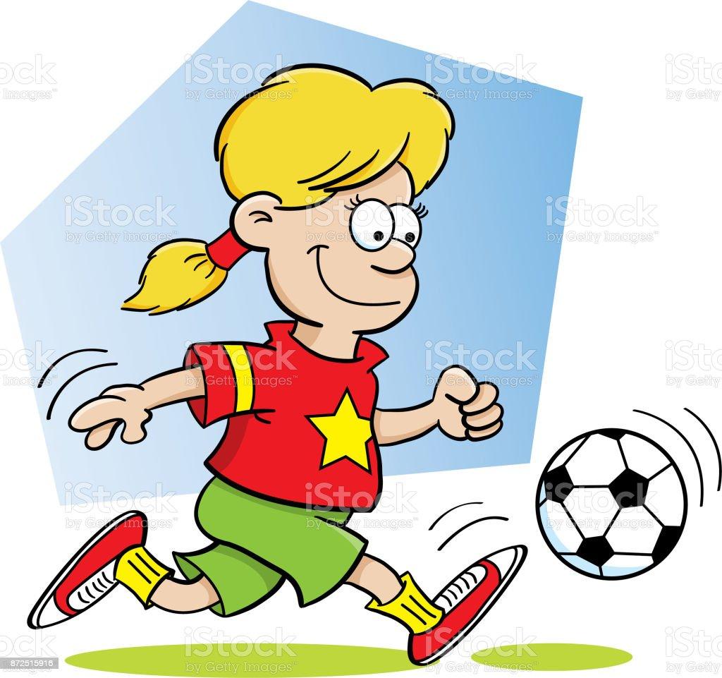 Cartoonmadchen Fussball Spielen Stock Vektor Art Und Mehr