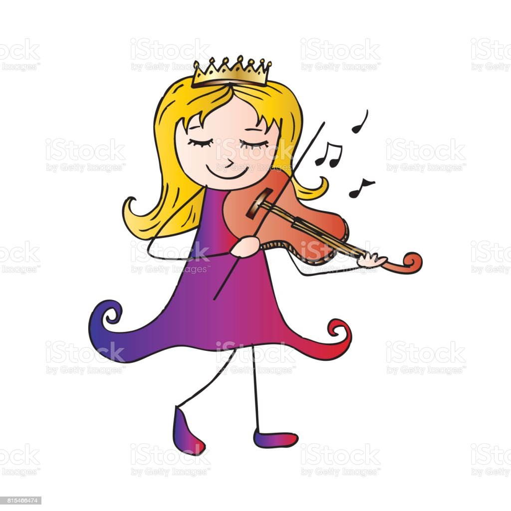 Vetores De Garota De Desenho Animado Tocando O Violino E Mais