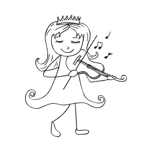 Royalty Free Cartoon Of Black White Violin Clip Art