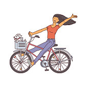Cartoon girl riding a bicycle with little dog in front basket - happy pet owner sitting on a bike and waving isolated on white background. Flat vector illustration.