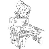Cartoon seamstress (tailor), working on electric sewing machine. Coloring book design for kids and children.