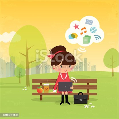 Cartoon girl sitting on bench in the park with laptop & food