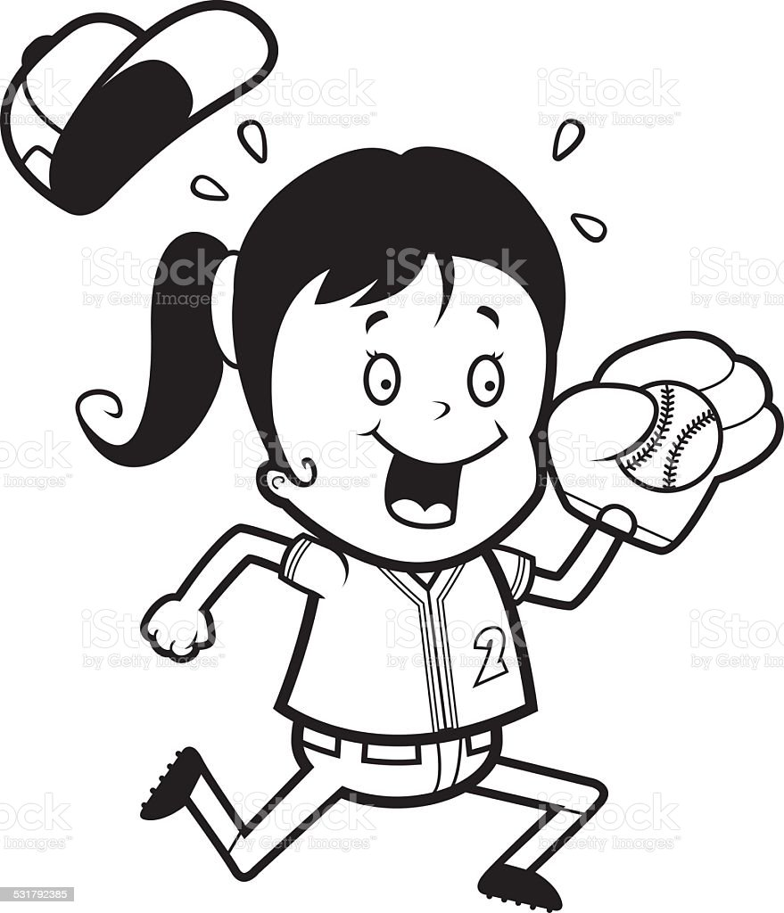 A cartoon illustration of a child playing softball.