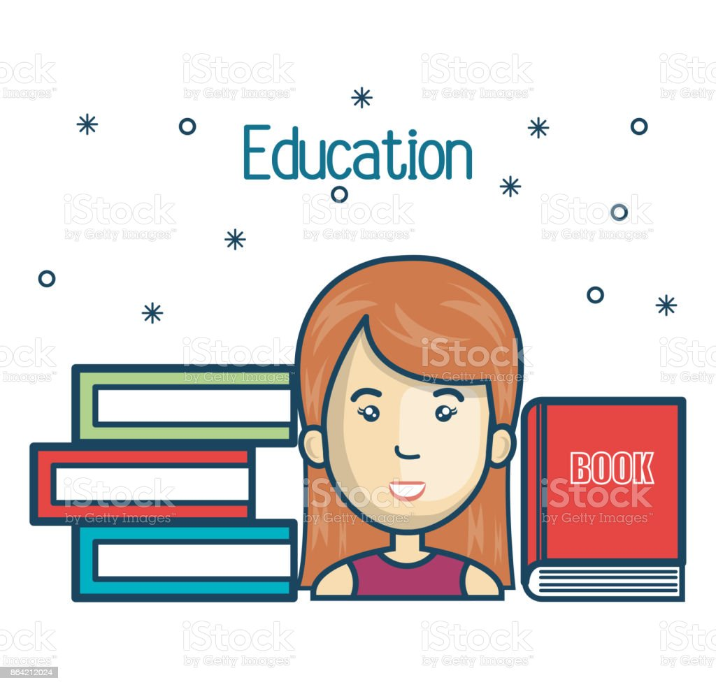 cartoon girl student education books read design royalty-free cartoon girl student education books read design stock vector art & more images of adult