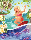 Cartoon Girl Surfing in Tropical Scene with Turtles and Koalas