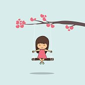 Cartoon girl swinging on a branch heart, vector illustration