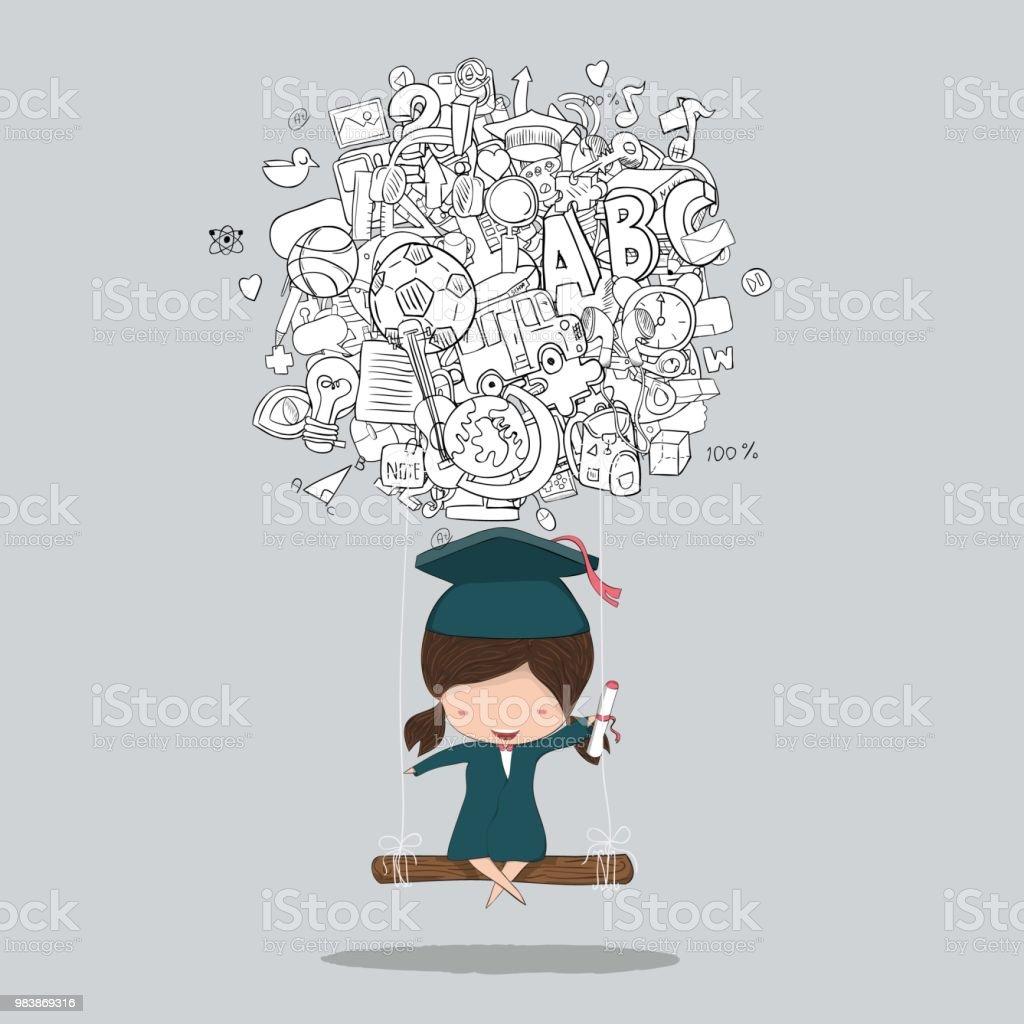 02eb086e7907 Tecknad flicka gungar på sociala nätverk bakgrund med media ikoner hand  bokstäver och doodles element bakgrund
