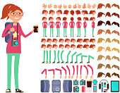 Cartoon girl teenager in casual clothes. Vector creation constuctor with big set of woman body parts. Collection of emotion woman face illustration