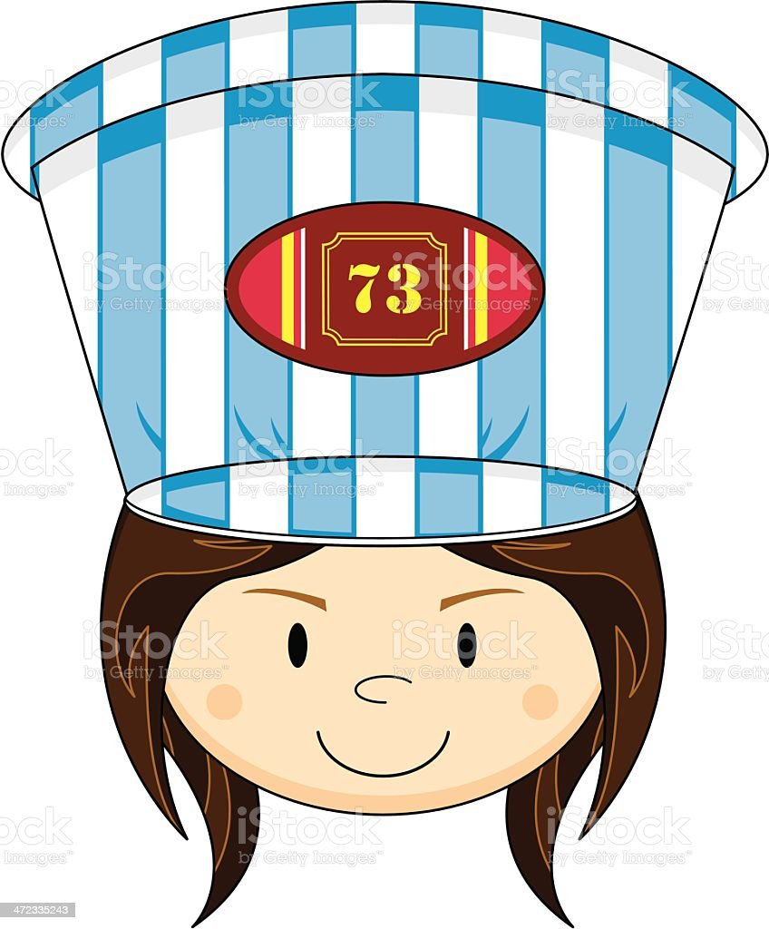 Cartoon Girl Train Driver royalty-free stock vector art