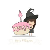 Cartoon girl witch holding cupcake and birthday doodles objects, halloween, drawing by hand vector