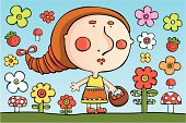 Vector illustration of little cartoon girl with basket, flowers, barriers and mushrooms.