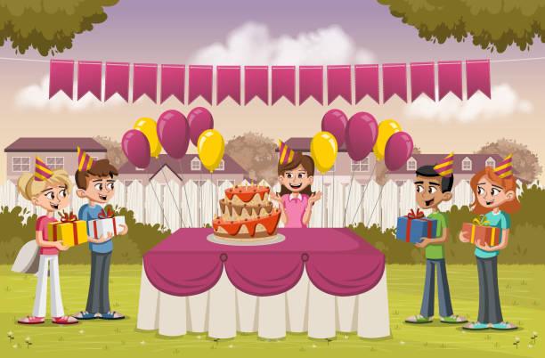 ilustraciones, imágenes clip art, dibujos animados e iconos de stock de chica de dibujos animados con sus amigos en una fiesta de cumpleaños en el patio trasero de una casa de colorido. barrio del suburbio. - fiesta en el jardín