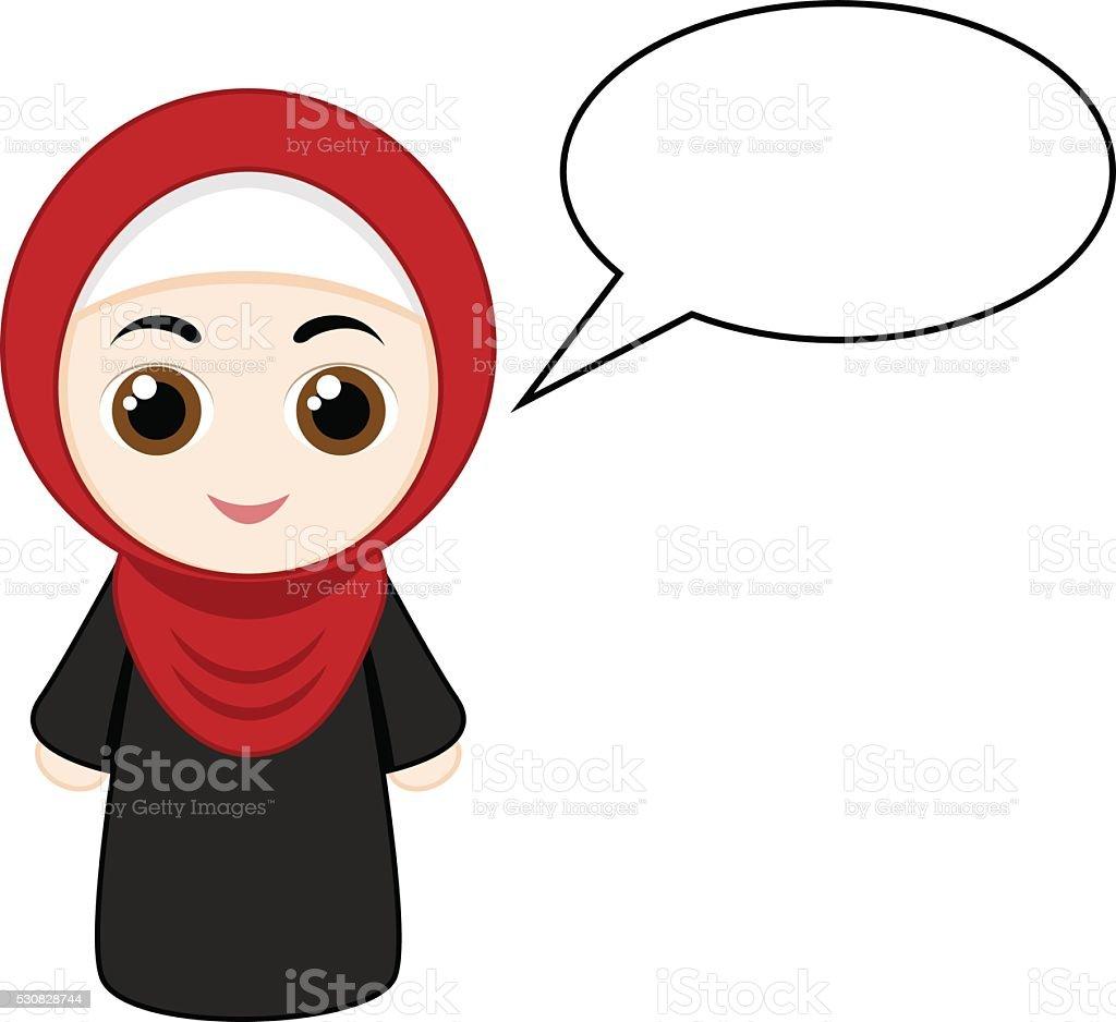 Cartoon girl with hijab illustration