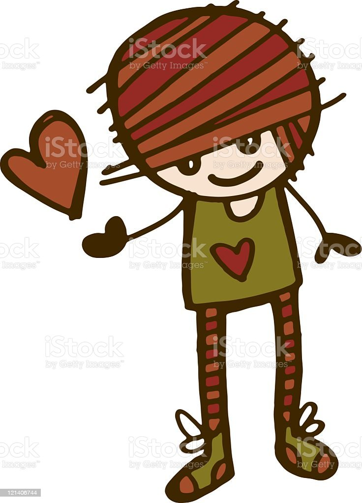 Cartoon girl with love heart royalty-free cartoon girl with love heart stock vector art & more images of adult