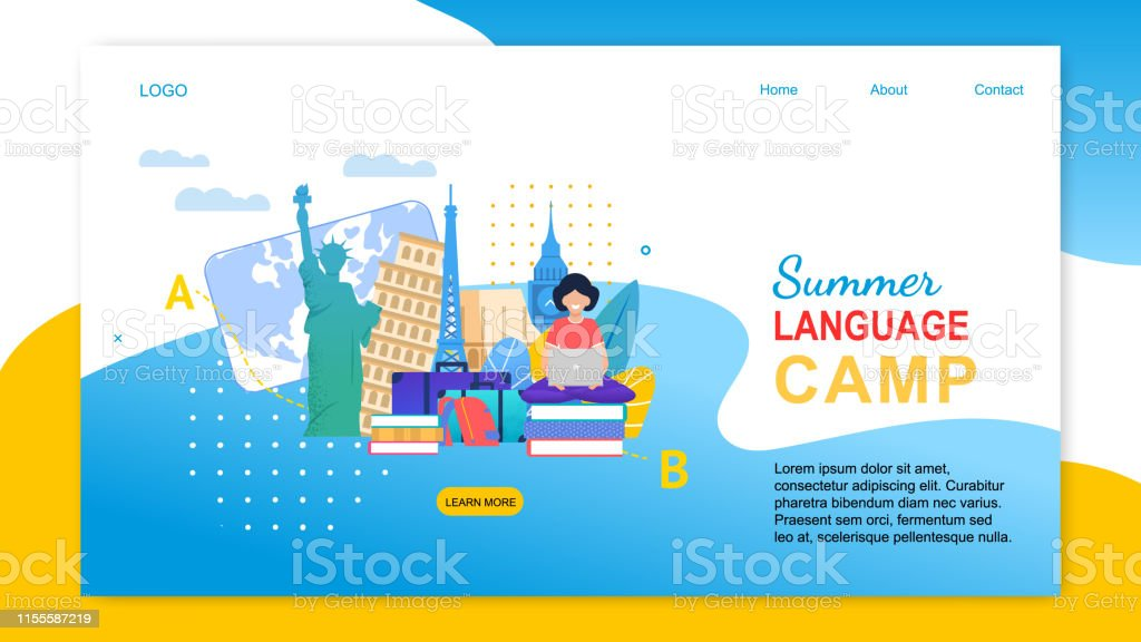 Summer Language Camp. Cartoon Girl with Notebook Learn Languages...
