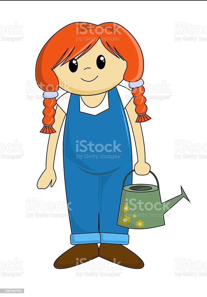 Cartoon Girl with Watering Can (vector) royalty-free stock vector art