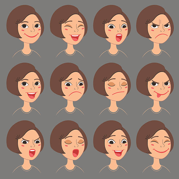 Cartoon girl's emotions and expressions set. vector art illustration
