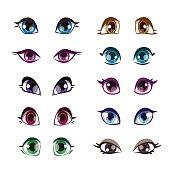 Cartoon girls eyes set.