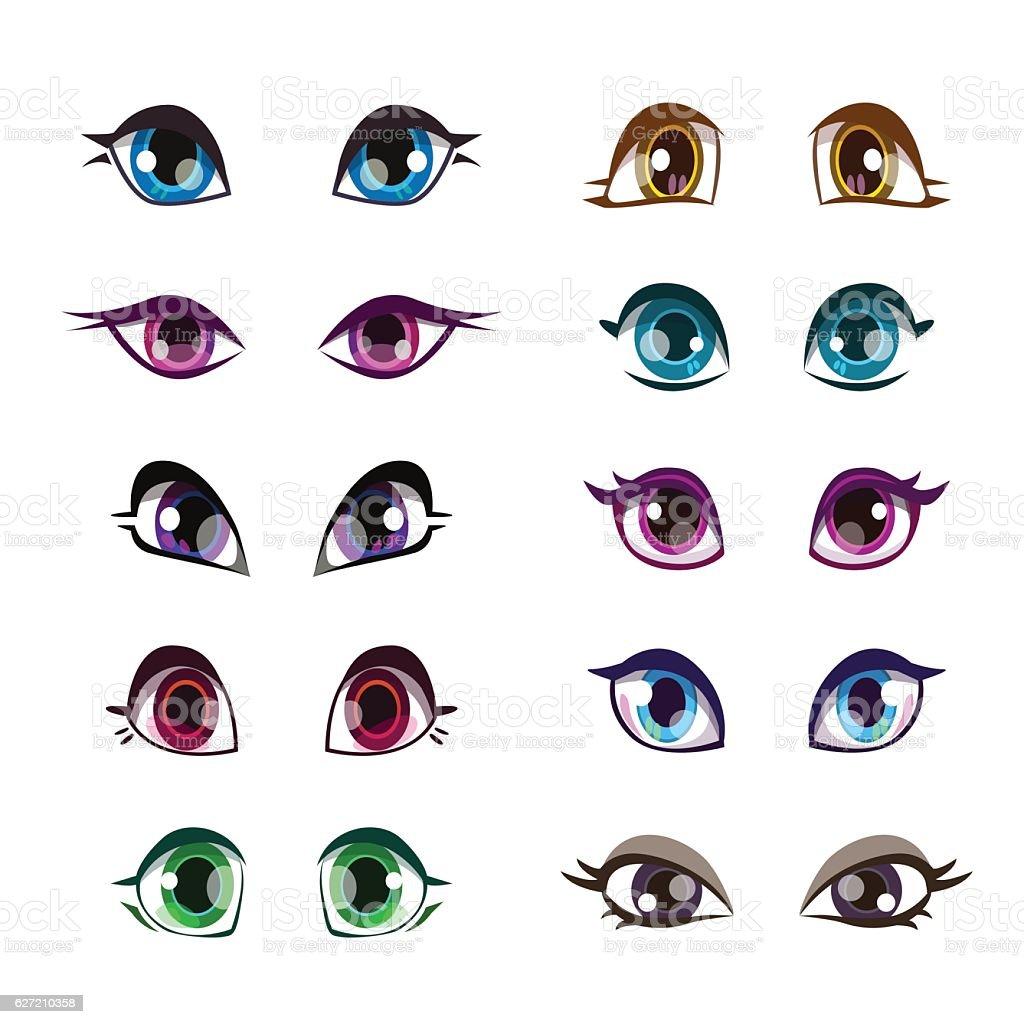 Cartoon girls eyes set. vector art illustration