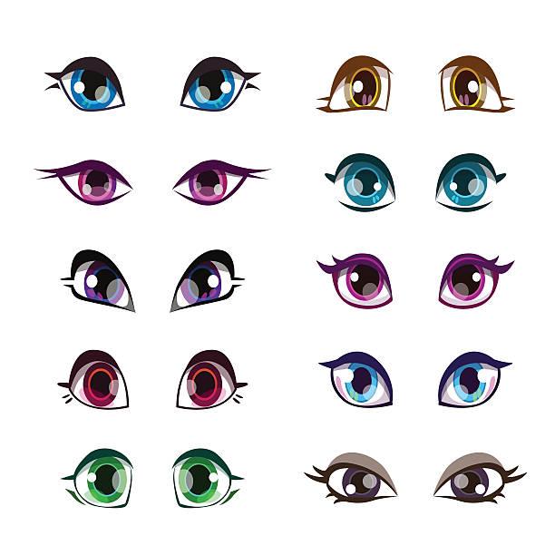 cartoon girls eyes set. - anime girl stock illustrations