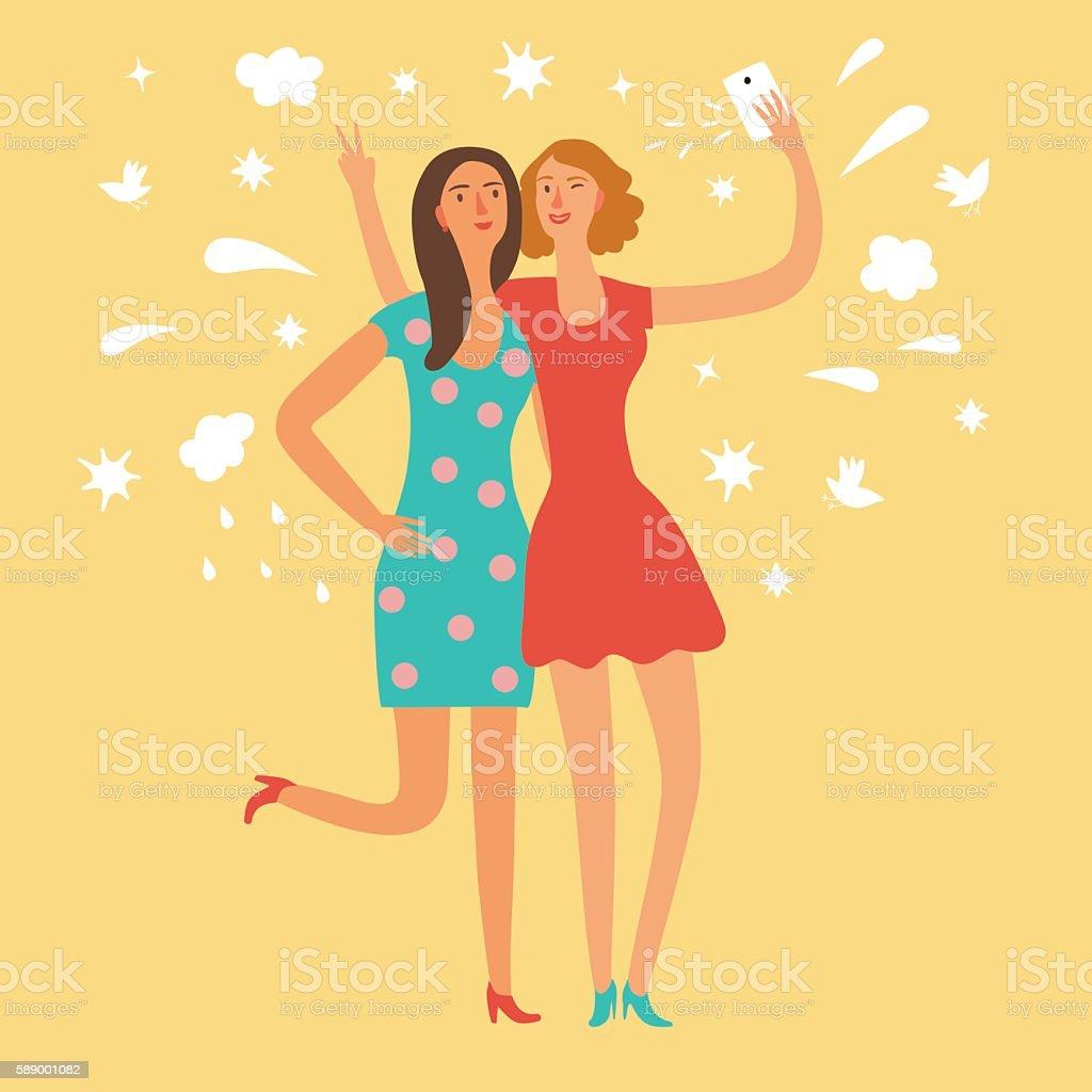 Cartoon girls friends making self photo