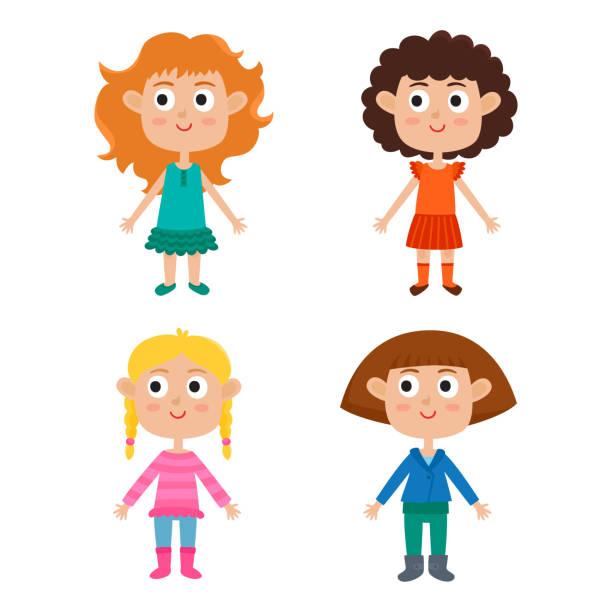 cartoon girls isolated on white. characters set of stylish kids. - redhead stock illustrations