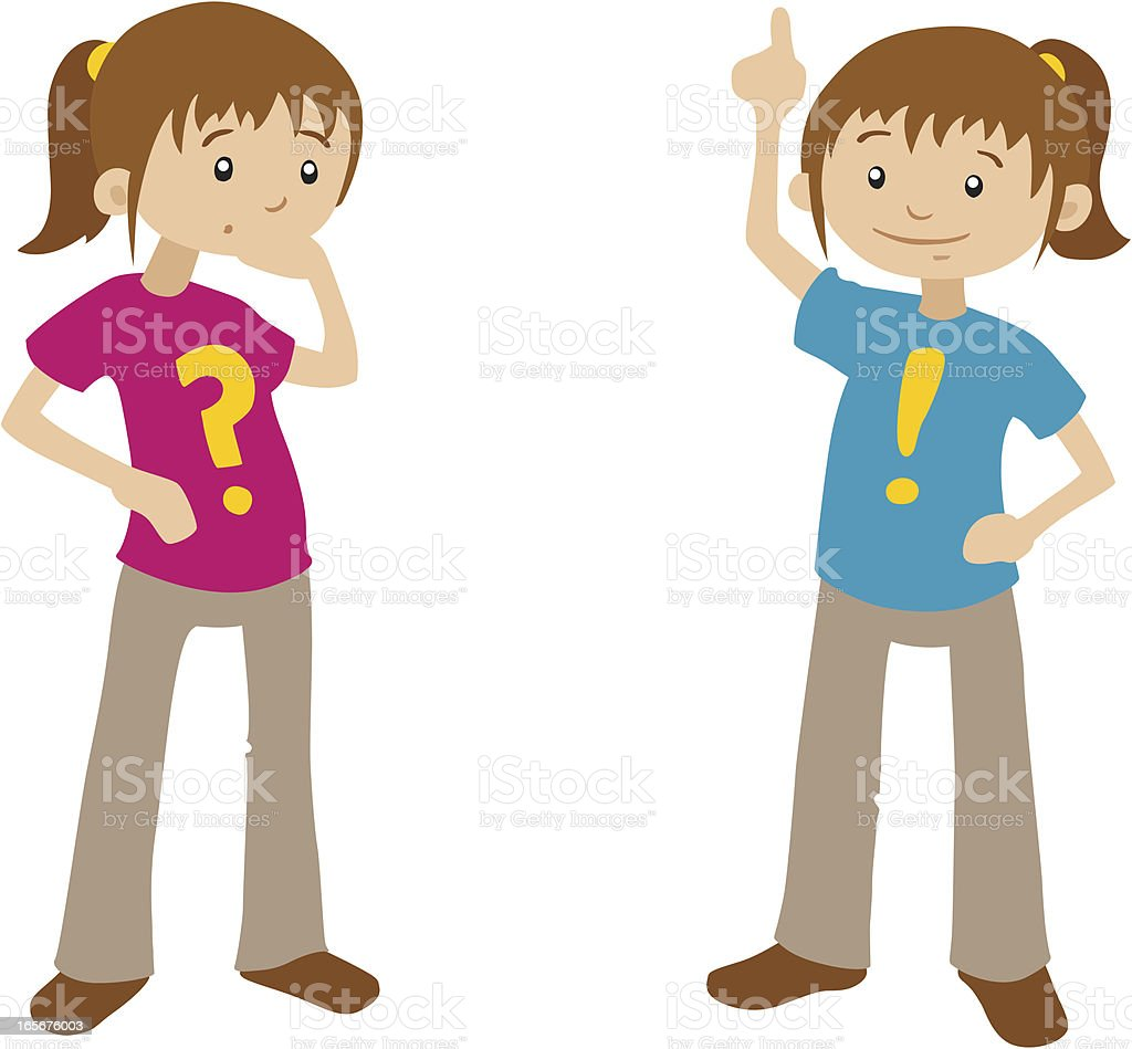 Cartoon Girls - Questions and Answers royalty-free stock vector art