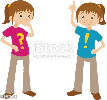 Cartoon Girls Questions And Answers Stock Vector Art