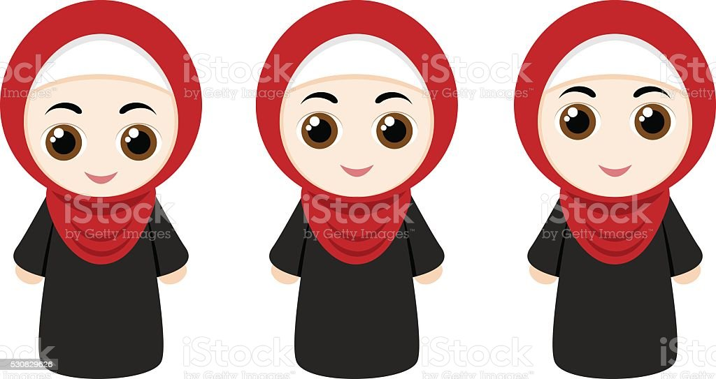 Cartoon girls with hijab vector art illustration