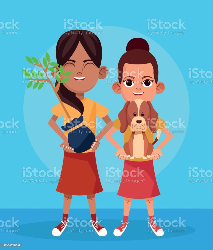 cartoon girls with plant and cute dog over blue background, colorful...