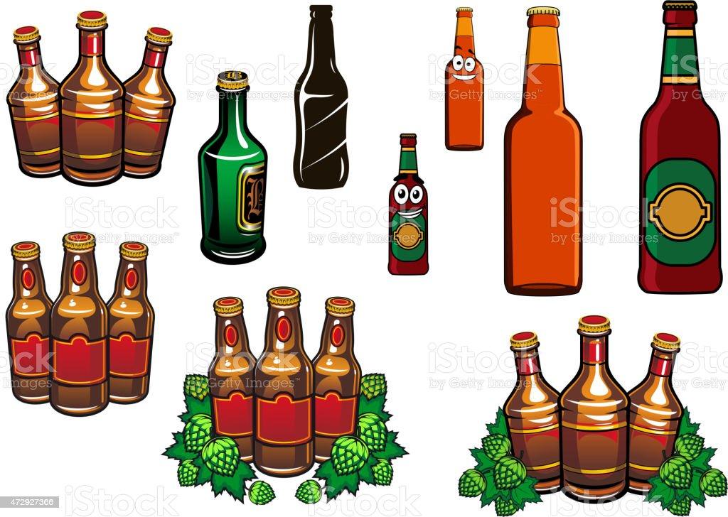 comic glas bier in flaschen mit leeren label stock vektor. Black Bedroom Furniture Sets. Home Design Ideas