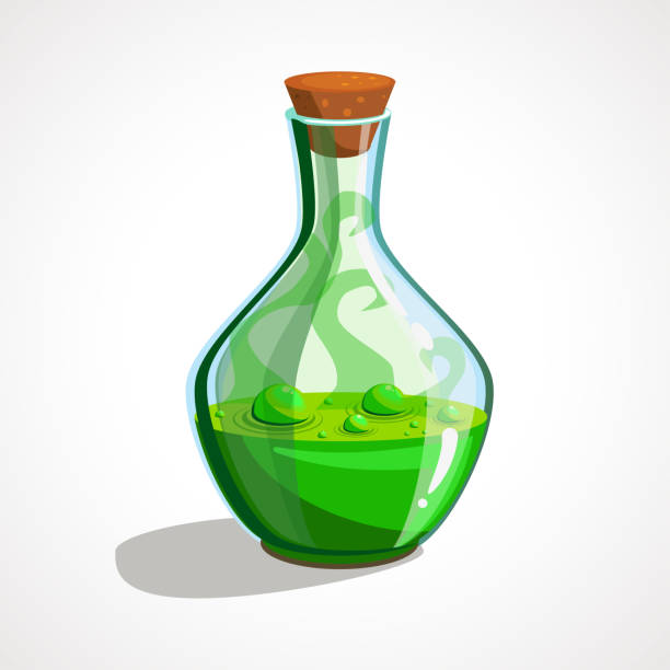 Cartoon glass bottles with green magic potion Cartoon glass bottles with green magic potion. Vector illustration potion stock illustrations