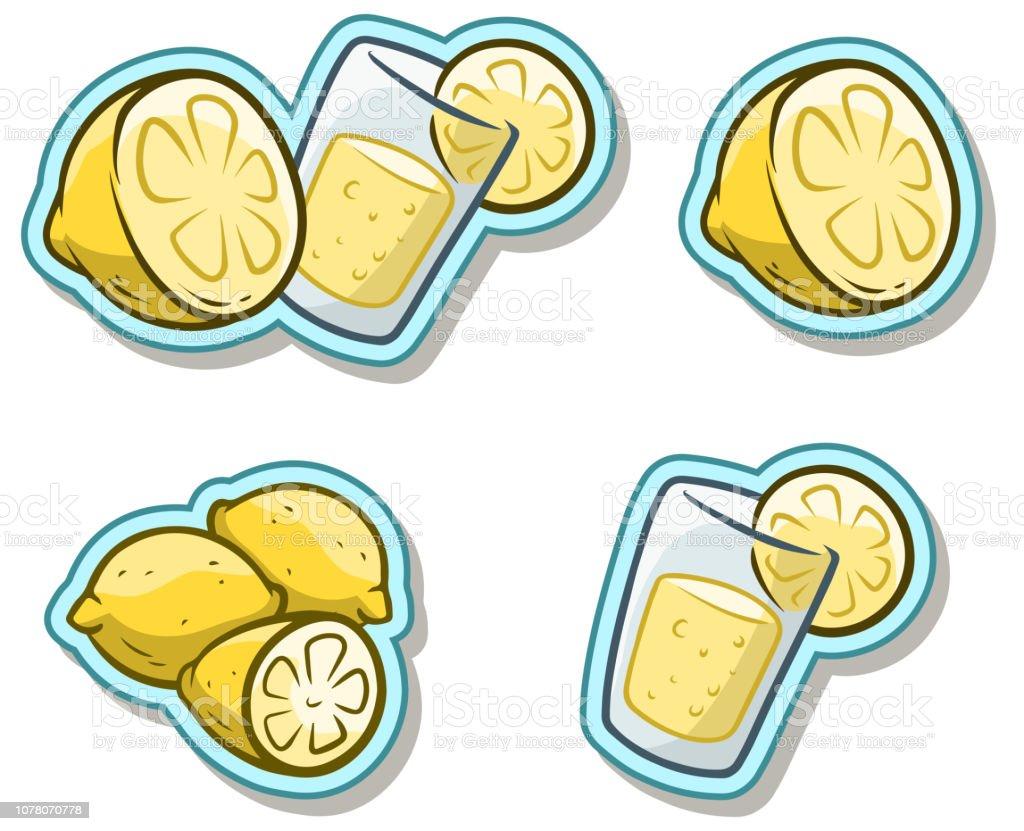 Cartoon glass with lemonade and lemon sticker icon vector art illustration
