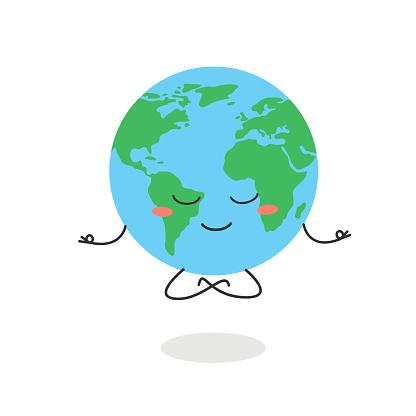Cartoon globe character meditation in lotus pose