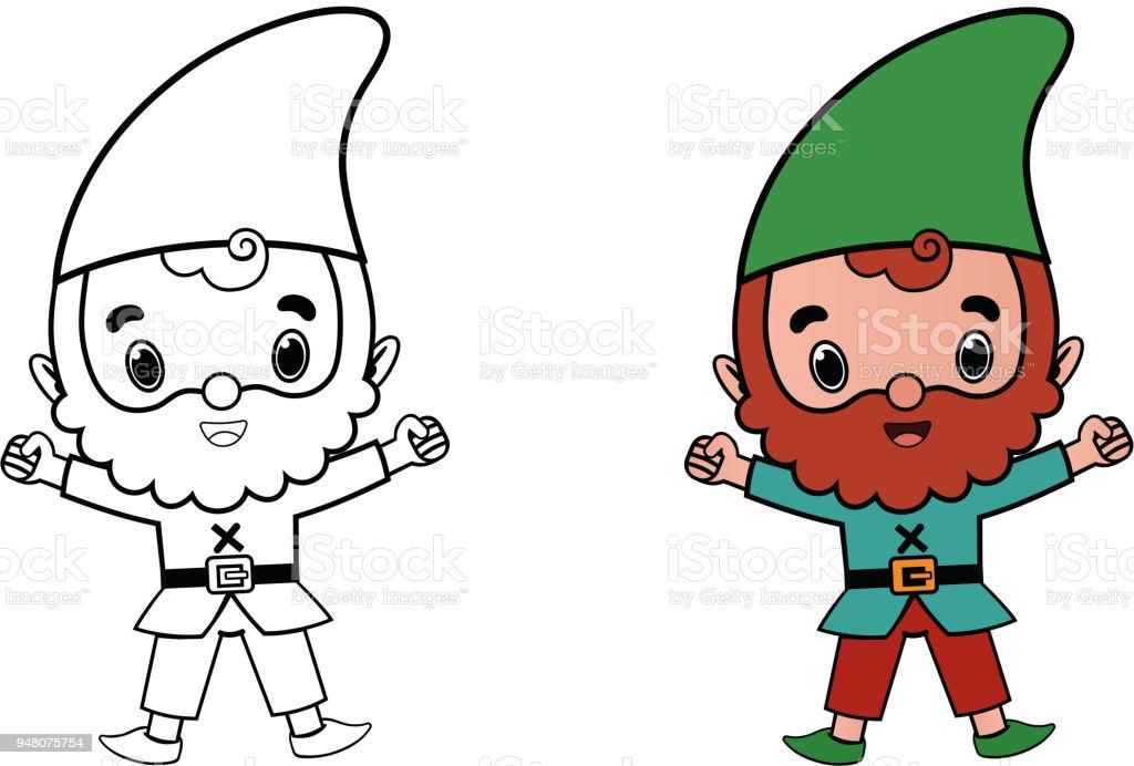Ilustración de Personaje De Dibujos Animados Gnome Para Colorear ...