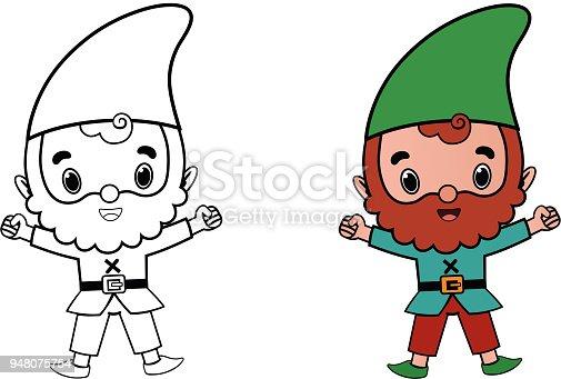 Gnome Comicfigur Für Färbung Seite Aktivität Stock Vektor Art und ...